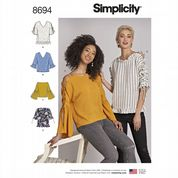 8694 Simplicity Pattern: Misses' Tops with Sleeve Variations